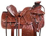 AceRugs Heavy Duty Wade Tree Tooled Western Roping Ranch Work Leather Horse Saddle TACK Set Included