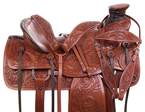 AceRugs Heavy Duty Wade Tree Tooled Western Roping Ranch Work Leather Horse Saddle TACK Set Included (17)