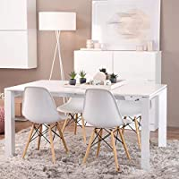 Set of 4 VEZARON Pre Assembled Modern Style Dining Chair (White)