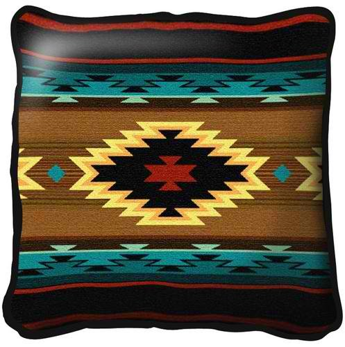 Southwest Geometric Turquoise Pillow by Pure Country Weavers