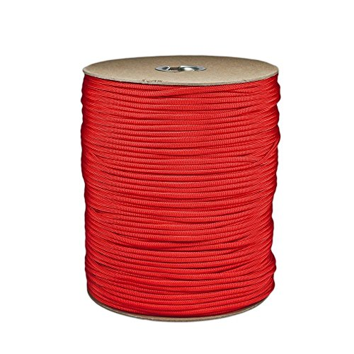 SGT KNOTS Paracord 550 Type III 7 Strand - 100% Nylon Core and Shell 550 lb Tensile Strength Utility Parachute Cord for Crafting, Tie-downs, Camping, Handle Wraps (4mm - 100 ft - Imperial Red)