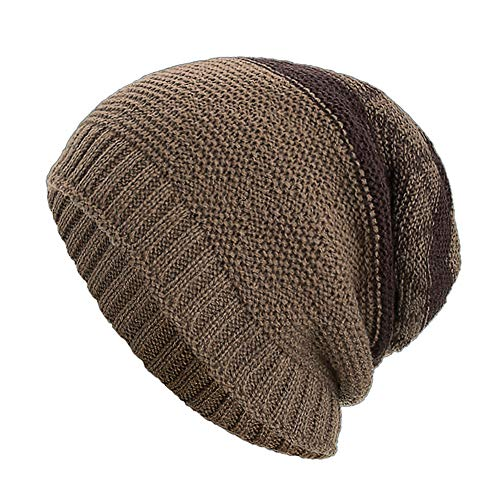 WUAI Deals,Women Men Winter Knit Warm Flexfit Hat Stripe Ski Baggy Slouchy Beanie Fashion Skull Cap (Khaki)