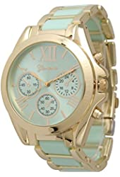 OYang Women's Geneva Roman Numeral Gold Plated Metal/Nylon Link Watch - Mint
