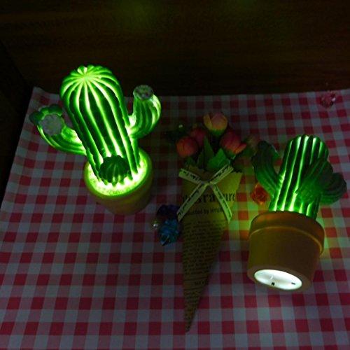 LED Light ,Lavany® Decorative Party LED Bedroom Cartoon Cactus Table Night Light (Green) Christmas Cactus Cartoon