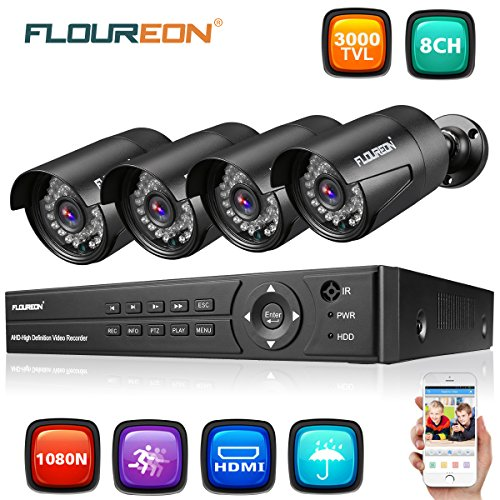 Dvr Kit (FLOUREON 8CH Home Security Surveillance DVR System 1080N + 4 Pack 1080P HD CCTV House Camera Night Vision Remote Access Motion Detection (8CH 1080N AHD 3000TVL NO HDD))