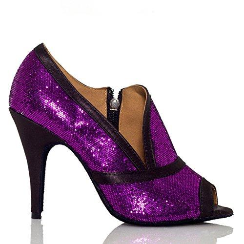 Minishion Qj7004 Femmes Glitter Paillettes Salsa Tango Salle De Bal Latine Fête De Mariage Chaussures De Danse Violet