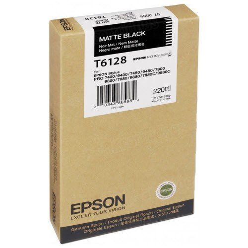 EPSON T612800 EPSON SP 7800/9800 MBLK INK 220ML PIGMENT BASED