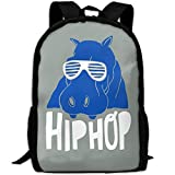 Backpack, Travel Hiking Lightweight Mens Womens Unisex Computer Gaming Laptop Shoulder Outdoor Canvas Backpack, Cool Funny Hippo Hip Hop Grey Shoulder Bag Backpacks For Men Women Adults