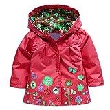 Arshiner Girl Baby Kid Waterproof Hooded Coat Jacket Outwear Raincoat Hoodies Red 120 Age for 4 5Y