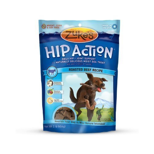 Zuke's Hip Action Natural Dog Treats Roasted Beef Recipe, 16-Ounce (Pack of 2) (16 Beef)