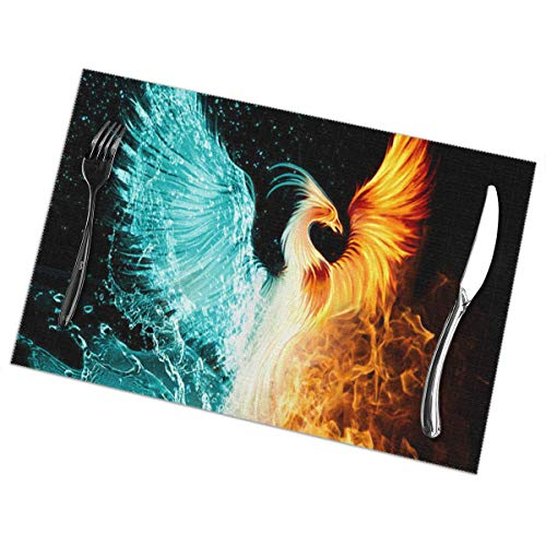 - Beautiful Fire Ice Phoenix Placemats Plate Mats for Dining Table Set of 6