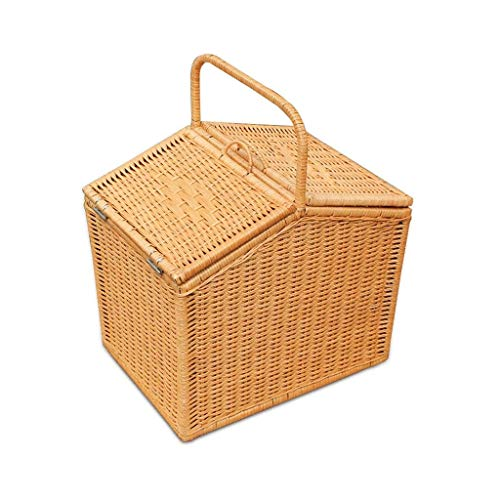 DJSMycl Handmade Natural Plant Rattan Dining Basket with Lid Handle Basket Shopping Storage Gift Delivery Baskets Storage Boxes Chests 15.74 11.81 19.68inchs Picnic Baskets (Color : Yellow)
