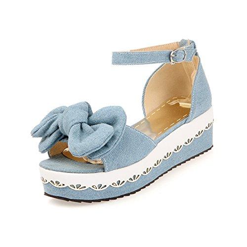 Adee Ladies Bows Embroidered Platform Soft Material Sandals LightBlue