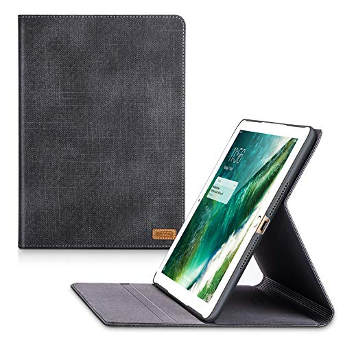 TORRAS New iPad 9.7 2018/2017 Case, Faded Denim Slim Cover Auto Sleep/Wake Up Adjustable Stand Folio Case Compatible with The New iPad 5th / iPad 6th Generation - Black