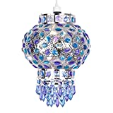 Traditional Moroccan Bazaar Style Chrome Plated Chandelier Ceiling Light Pendant Shade With Beautiful Blue And Purple Coloured Acrylic Jewel Drople