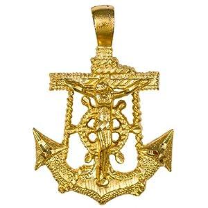 Amazon Com Marine Hope Anchor Crucifix Cross Necklace