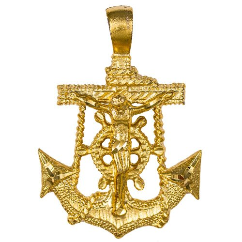 (Marine Hope Anchor Crucifix Cross Necklace Gold on Gold Beaded Chain)