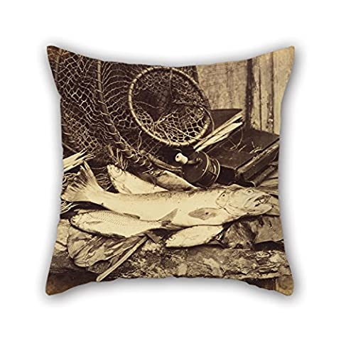 Alphadecor Throw Pillow Case Of Oil Painting Henry Bailey (English, Active Late 1860s) - Trout Roach Etc.,for Couch,bar,gf,drawing Room,bedding,home Theater 20 X 20 Inches / 50 By 50 Cm(double - Bailey Bedding Canopy Top