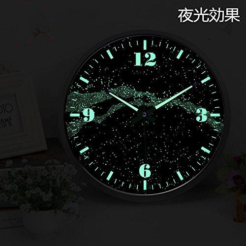 綿花世界 おしゃれ夜光時計 壁掛け時計 ウォールクロック(音がない) B01CJKTWUW ブラック ブラック