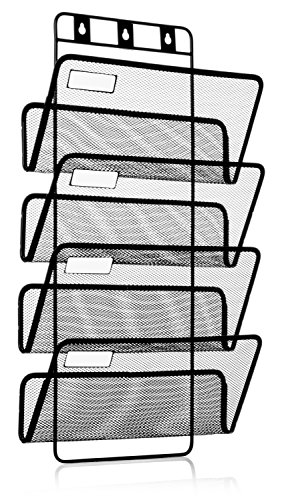 (4-Pocket Hanging Wall File Organizer, Folder Holder + Mounting Hardware + Labels)