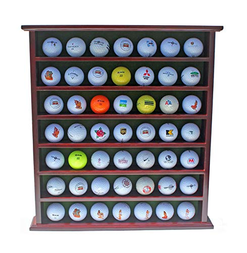 - Golf Gift 49-Golf Ball Display Case Cabinet Rack, No Door, Mahogany Finish