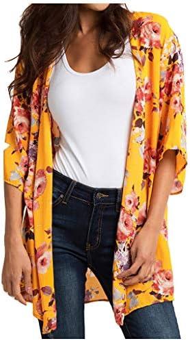 Women Floral Print Chiffon BlousesBeach Kimono Cardigan Blouse Shawl Loose Top Loose Sun Protection Outwear / Women Floral Print Chiffon BlousesBeach Kimono Cardigan Blouse Shawl Loose Top Loose Sun Protection Outwear