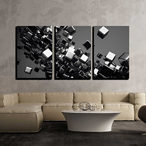 wall26 - 3 Piece Canvas Wall Art - a Black Cubes Abstract Background - Modern Home Decor Stretched and Framed Ready to Hang - 24''x36''x3 Panels by wall26