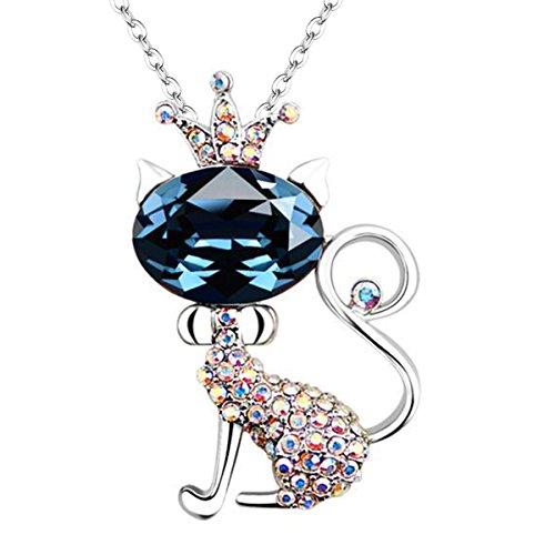 EleQueen Silver tone Necklace Sapphire Swarovski product image