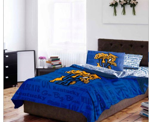 Kentucky Wildcats NCAA TWIN Comforter & Sheets (4 Piece Bed In A Bag)