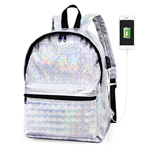Purple Silver Travel Backpack Shiny Women Novias School Boutique Bag 1 Hologram Girls PU Shoulder Bag SwFS7qAO