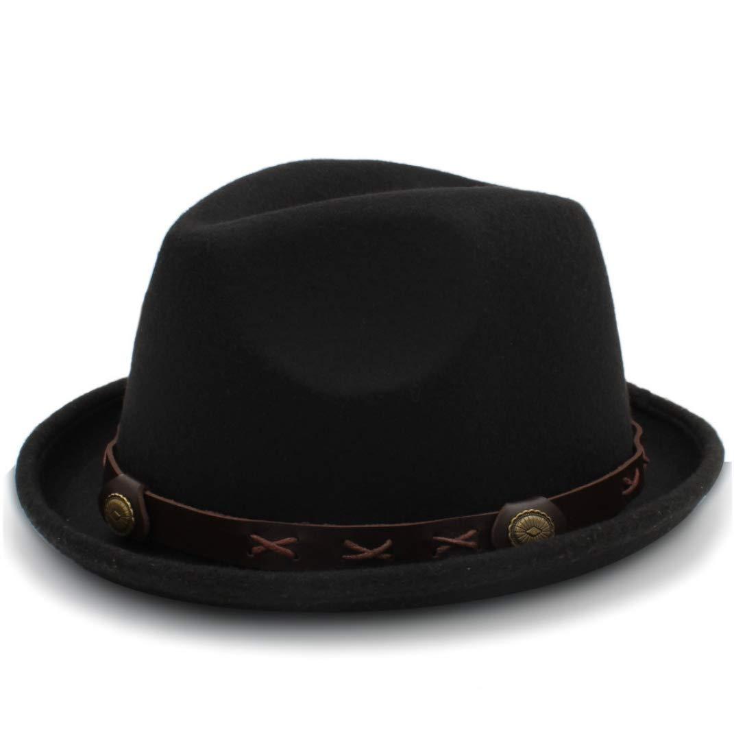 Fashion British Wool Jazz Cap for Vintage Autumn Winter Dad Fedora Hats with Metal Belt Female Wide Brim Hats