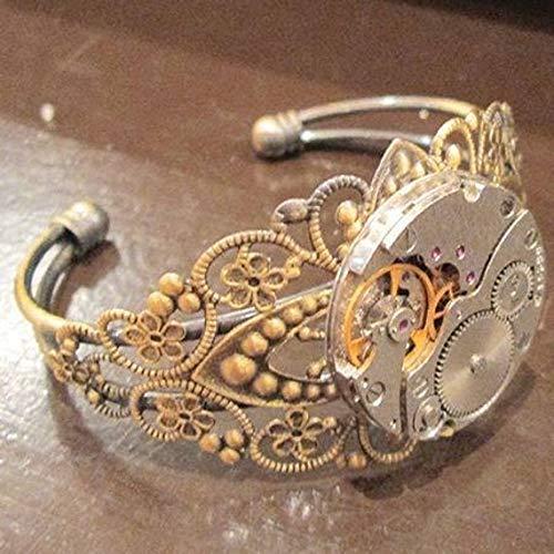 bracelet steampunk bronze manchette mécanisme montre engrenage ...