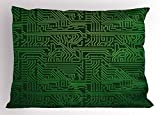 Ambesonne Digital Pillow Sham by, Computer Art Backdrop with Circuit Board Diagram Hardware Wire Illustration, Decorative Standard King Size Printed Pillowcase, 36 X 20 Inches, Emerald Fern Green