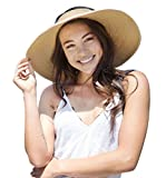 Toppers Womens Sun Hat Wide Brim Roll up Foldable Summer Straw Beach Hat Natural