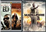 Man On Fire & Book of Eli + I am Legend [DVD] 3 Pack Denzel Washington Will Smith Action Movie Set