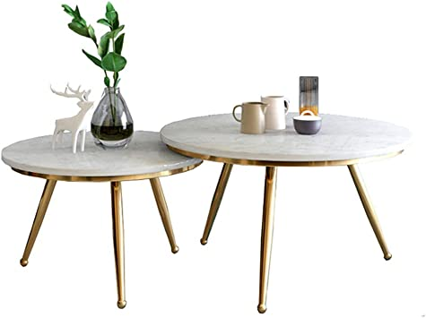 Amazon Com Modern Coffee Table Set Of 2 Nesting Side Corner Tables Coffee End Tables Round Sofa Table For Living Room 3 Metal Golden Legs Marble Deskop Furniture Decor
