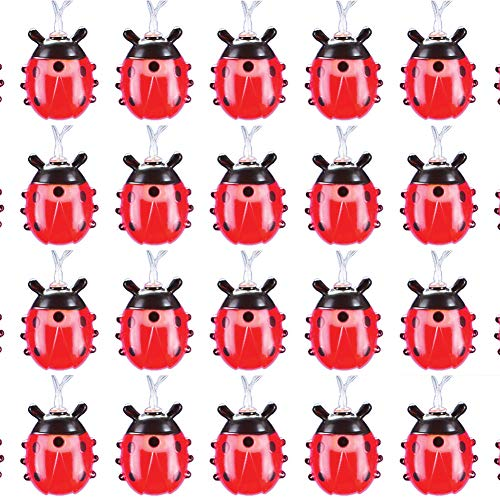 Collections Etc Red Lady Bug LED String Lights, Battery Operated - Seasonal Decorative Accessories for Outdoor or Indoor Use