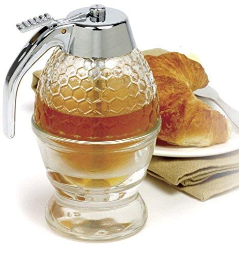 Honey Dispenser - NORPRO 780 Glass 1 Cup Bee Hive Honey Syrup Dispenser Jar With Stand