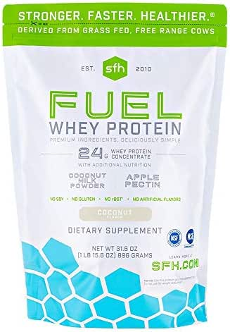 Fuel Whey Protein Powder (Coconut) by SFH | Great Tasting Grass Fed Whey | MCTs & Fiber for Energy | All Natural | Soy Free, Gluten Free, No RBST, No Artificial Flavors | 28 Servings (2 lb Bag)
