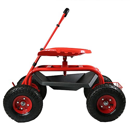 - Sunnydaze Garden Cart Rolling Scooter with Extendable Steering Handle, Swivel Seat & Utility Basket, Red