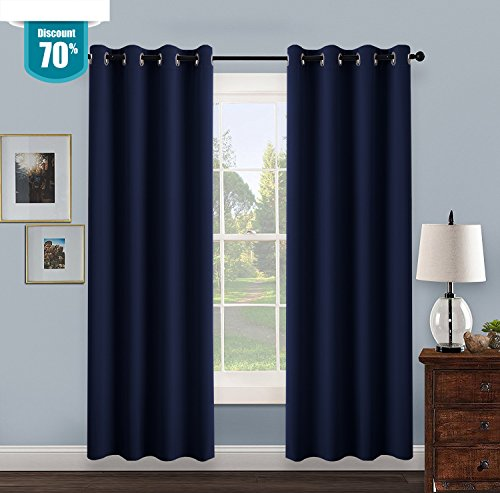 【Special Offer】Sleeping Cloud 2 Panels Blackout Curtains for Winter - Home Decoration Machine Washable Ring Top Thermal Insulated Blackout Draperies for Bedroom (2 panels,52