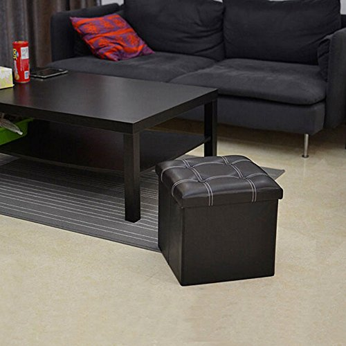 Newdora Faux Leather Folding Storage Ottoman Bench Collapsible Footrest Seat, Coffee Table Cube Foot Rest Stool 14.92