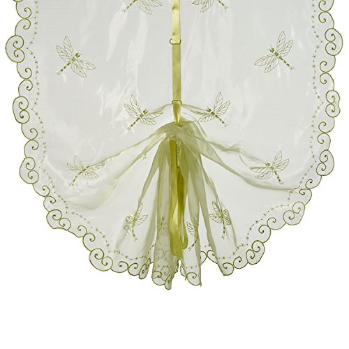 Best Dragonfly Embroidery Polyester Tie-Up Window Shade Balcony Window Drape Panel Scarf Valances Curtain Light Green 33''W x 57''H by Comforbed (Image #6)
