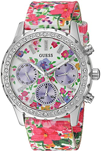 GUESS Women's U0903L1 Sporty Silver-Tone Watch with Floral Print Dial , Crystal-Accented Bezel and Nylon Band (Floral Dial Watch)