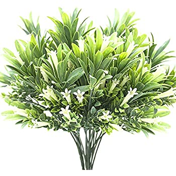 Grunyia Artificial Plastic Flowers Plants Fake Shrubs Faux Morning Glory Bushes House Office Garden Patio Yard Indoor Outdoor Decor