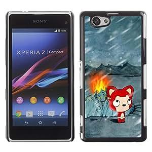 Be Good Phone Accessory // Dura Cáscara cubierta Protectora Caso Carcasa Funda de Protección para Sony Xperia Z1 Compact D5503 // Cute Winter Cat