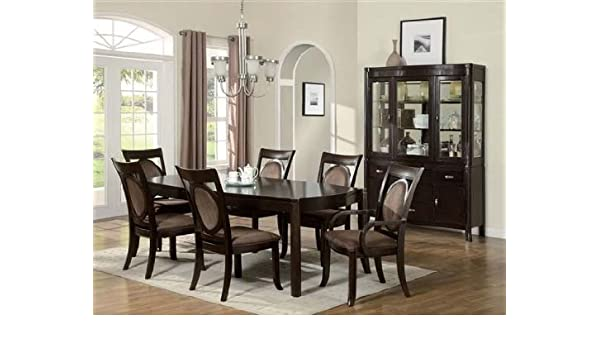 Amazon.com - 7pc Formal Dining Table & Chairs Set Dark Brown ...