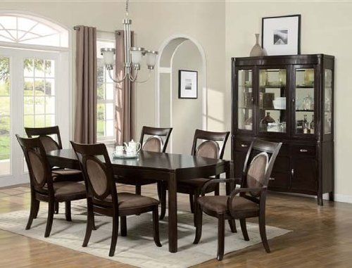 7pc Formal Dining Table & Chairs Set Dark Brown Finish