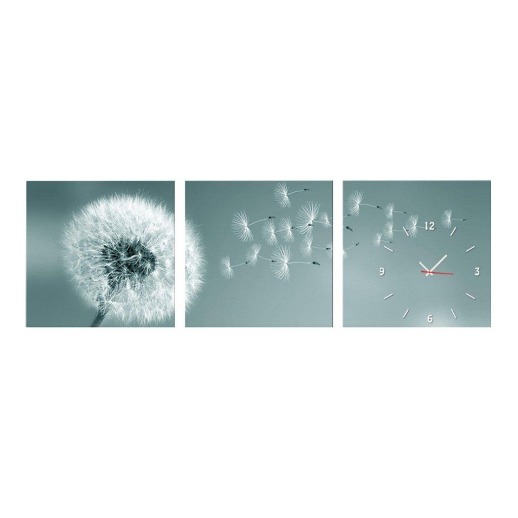 YFF-壁時計 美しいタンポポの壁時計の絵画アートのキャンバスの時計近代的なミニマルなフレームレスの絵画の背景のリビングルームのベッドルームレストラン装飾的な壁画、3つの作品 ( サイズ さいず : 40*40cm ) B07CKXMSMS 40*40cm 40*40cm