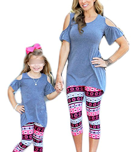 Mommy and Me Matching Cold Off Shoulder T-Shirt Short Sleeve Top Blouse Family Shirts Outfits (Blue (Kid),M)